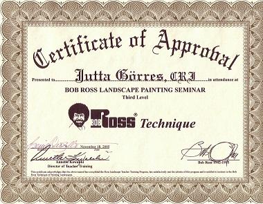 Zertifikat Landschaft Bob Ross